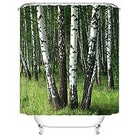 (自然 Birch 木)シャワーカーテン バスカーテン 間仕切り 防水 防カビ 目隠し用 リング付属 取付簡単 幅180×丈180cm
