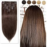 "Hair Extensions Clip in 100% Real Remy Human Hair Natural Long Straight Full Head 8pcs Silky Soft Fashion Hot-#04 Medium Brown 20""-105g"