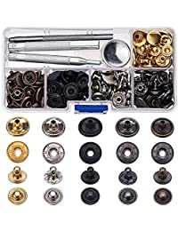 60 Set Copper Snap Fasteners Press Studs Poppers No Sewing Leather Clothing Button with 4 Pieces Install Tool