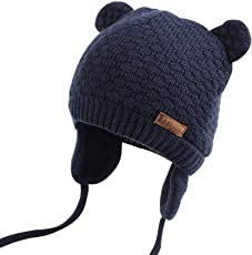 XIAOHAWANGベビーニット帽 赤ちゃん 女の子 男の子 耳保護付き 綿 無地 柔らかい 暖かい かわいい 防風・防寒・保温 春 秋 冬