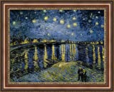 ( v16 – 19 – 20 ) Vincent _ van _ gogh _ Starry _ Night _ over _ the _ローヌ_フレーム_キャンバス_ Giclee _プリント_ w28.5 _ X _ h22 +[Large] #06-Brown/Gold V16-20F-MD393-03