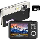デジタルカメラ デジカメ コンパクトHD 1080P 30FPS 2400万画素 Micro SDカード32GB付き 連続ショット 3Xデジタルズーム 初心者 誕生日