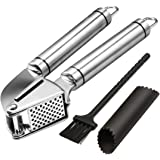 Noosa Life | Garlic Press + Peeler | Best Professional Stainless Steel Garlic Mincer | User-Friendly, Easy To Clean And Highl