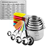 RWM Measuring Cups Spoons Set - 13pcs Magnetic Measuring Cups with Stainless Steel Metal - 1 Measurement Conversion Chart 7 M