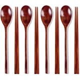 Ecloud Shop Woden Spoon Sets Korean dinnerware Combinations Brown 4-Set Spoon Chopsticks