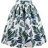 Wellwits Women's Midi Pleated Banana Print Vintage Skirt