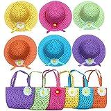 Jund – Sunflower Straw Girls Tea Party Sun Hat and Purseセット。Includes 6手ごろ& 6デイジー花Sunhatsアソートカラー