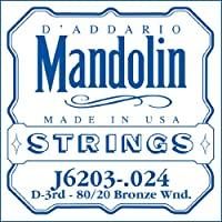 D'Addario ダダリオ マンドリン用バラ弦 3rd .024 J6203 【国内正規品】