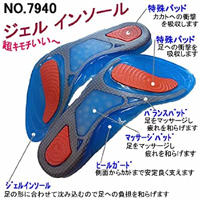 足の形に合わせて沈み込み足への負担を和らげる 7940 ジェル インソール 【マッサージ パッド付】