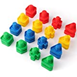 Coogam Jumbo Nuts and Bolts Set 4 Colors 4 Shapes Building Construction Toys 32PCS Occupational Therapy Tools Screw Nut Toy M