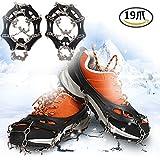 Boonor 19本爪 アイゼン 靴底用滑り止め 簡単装着 収納袋付き 雪山・登山・トレッキングなどに最適