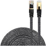 LANケーブル CAT7準拠 [Danyee®一年間保証] インターネットケーブル 結束マジックテープ付き 長さ1M 3M 5M 8M 10M 20M (8M, ブラック)