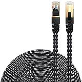LANケーブル CAT7準拠 [Danyee®一年間保証] インターネットケーブル 結束マジックテープ付き 長さ1M 3M 5M 8M 10M 20M (1M, ブラック)