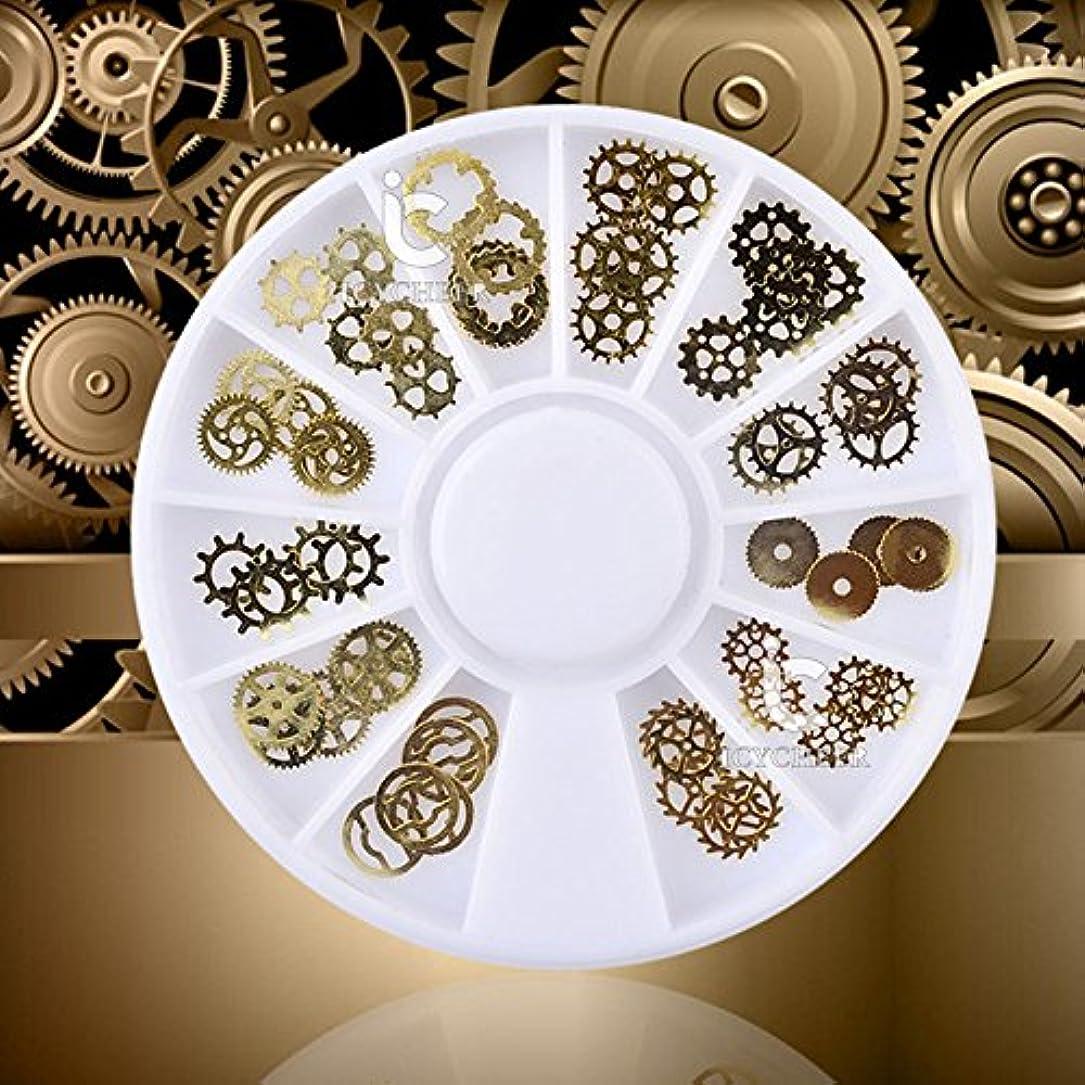 寓話守るリングICYCHEER 超薄型スチームパンクネイルアート3dデコレーションホイールスチームパンクギア金属スタッドdiy