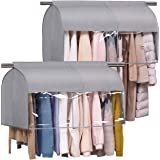 SLEEPING LAMB Hanging Closet Cover for Clothes Storage Expandable Garment Rack Cover with Clear PCV Window Dust Shoulder Cove