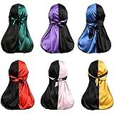 BKpearl 6 Pcs Silky Durag, Two Tone Pirate Cap Long-Tail Headwraps for Men Women
