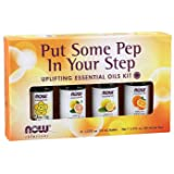 Now Foods Essential Oils Kit, Put Some Pep in Your Step, Uplifting, Bottles, 10ml (Pack of 4)