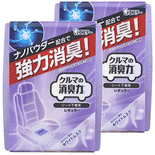 【まとめ買い】 クルマの消臭力 シート下専用 消臭芳香剤 クルマ用 クルマ ホワイトムスクの香り 200g×2個