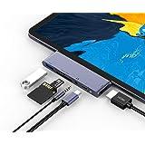 RAYROW USB C Hub For iPad Pro 2018 2020, 6 In 1 USB C ipad Adapter With USB3.0, SD/TF Card Reader, 3.5mm Headphone Jack, PD C