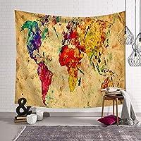 JSSFQK 世界地図タペストリー壁掛けヴィンテージの水彩色のタペストリー寝室の寮の装飾 タペストリー (色 : G g, サイズ さいず : 203x150)