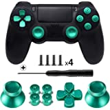 TOMSIN Metal Buttons for DualShock 4, Aluminum Metal Thumbsticks Analog Grip & Bullet Buttons & D-pad for PS4 Controller (Gre