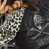 (ブラックバリア) BLACK VARIA Tシャツ スカル ドクロ 豹 ヒョウ柄 ラインストーン Vネック ロンT ブラックグレー 1339146bv M