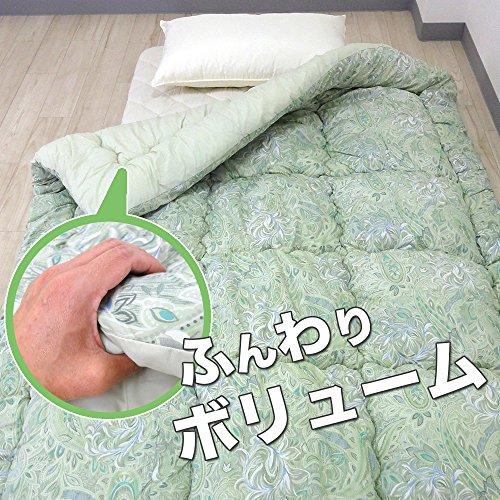 ねむりっち 羊毛掛け布団 シングル 防ダニ 防臭 抗菌 (グリーン)