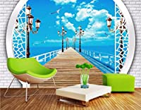 Weaeo 3D写真の壁紙海の廊下の風景の写真リビングルームの壁の3D絵画のためのカスタム壁画の3D壁の壁画の壁紙-200X140Cm