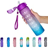 NOOFORMER 24oz / 32oz Motivational Water Bottle with Time Marker & Straw- Water Tracker Bottle Leakproof BPA Free for Fitness