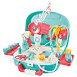 wodtoizi Medical Playset Dentist Kit Dentist Set Kids Doctor Toys Pretend Play with Sounds and Lights in Storage Box Boys Gir