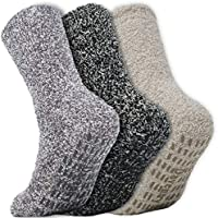Daventry Ultra Thick Fuzzy Grip Socks 3pk, Non-Skid Slipper Hospital Sock