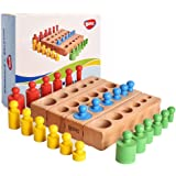 BOHS 6 Knobs Mini Knobbed Cylinder - 6.7 Inches - Colorful Montessori Wooden Early Home School Toy - 4pcs Set- Ages 2.5 Years