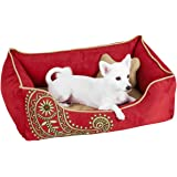 """Blueberry Pet Heavy Duty Microsuede Overstuffed Bolster Lounge Dog Bed, Removable & Washable Cover w/YKK Zippers, 34"""" x 24"""" x"""