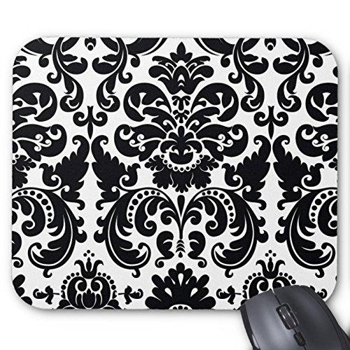 Recaso(レカソ)ダマスク織の白黒エレガントでシックなコンピュータ マウスパッド 敷き おしゃれ オフィス用 滑り止...