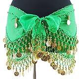 ベリーダンス衣装 BC3940 レッスン用シフォンヒップスカーフ 金コイン グリーン