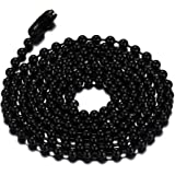SINLEO Titanium Stainless Steel Small Beads Ball Chain Necklace for Men Women 24-38 Inches Silver Black Gold