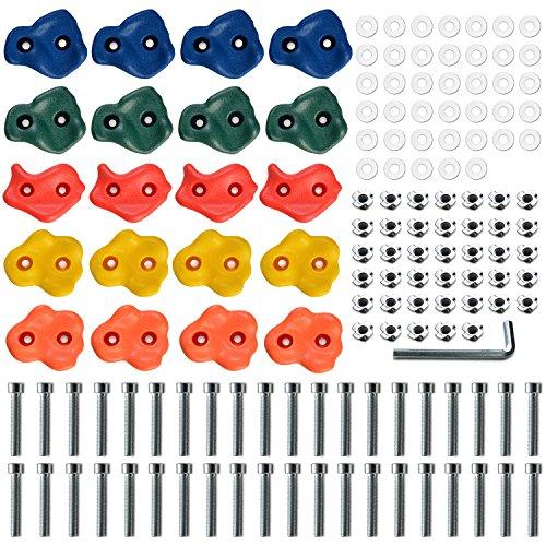 多彩・子供クライミングホールド 20個セット+アクセサリ(ホールド・Tナット・ボルト ・ レンチ) 安全・取り付け簡単 ボルダリングホールド ロッククライミング 取扱説明書付き