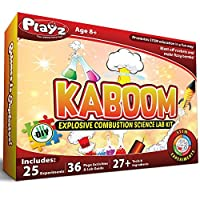 Playz Kaboom Explosive Combustion Science Lab Kit - 25+ STEM Experiments - DIY Make Your Own Rockets, Helium Balloons, Fizzy Bombs, Colour Explosions and more with Fun Chemical Reactions