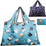 Reusable Grocery Bag, Gophra 2 Packs Large Washable Foldable Eco Friendly Nylon Heavy Duty Fits in Pocket Shopping Tote Bag (