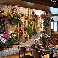 ヨーロッパの街並みの壁画、路地の壁に描かれたカラフルな花の壁画、家の装飾3D写真の壁紙208 cm(W)x 146 cm(H)