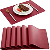DOLOPL Placemats Red Placemat Leather Table Mats Set of 6 Heat Resistant Easy to Clean Wipeable Waterproof Washable Outdoor P