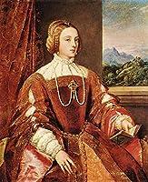 手書き-キャンバスの油絵 - 美術大学の先生直筆 - Empress Isabel of Portugal Tiziano Titian 絵画 洋画 複製画 ウォールアートデコレーション -サイズ02