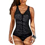 Firpearl Womens One Piece Swimsuits Printed V Neck Monokini Tummy Control Bathing Suits