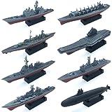 8 Sets 3D-Puzzle Model Battleship Aircraft Carrier Toy Submarine, Plastic Model Warships Ship Kits, Navy Ship Battleship Mode