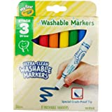 CRAYOLA 81-1324 Washable Marker Ultra-Clean Junior Washable Markers 8 Pack, (16047)