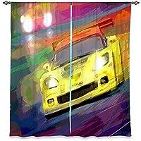 ウィンドウカーテン裏地なしDiaNoche芸術的、スタイリッシュ、ユニーク、装飾、面白い、ファンキー、クールDavid Lloyd GloverコルベットLeMans Racecar 40W x 82H in WCUDavidGloverCorvetteThunderLeMans3