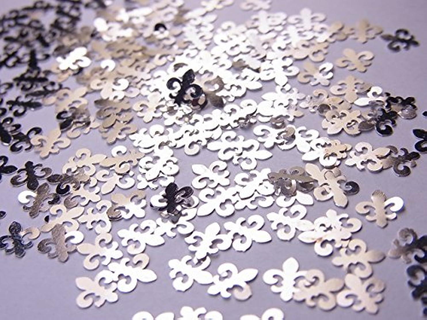 潜むその後暴動【jewel】薄型シルバーレジンパーツ ユリの紋章10個
