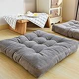 HIGOGOGO Solid Square Seat Cushion, Tufted Thicken Pillow Seat Corduroy Chair Pad Tatami Floor Cushion for Yoga Meditation Li
