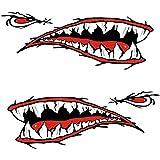 2サメの歯口ステッカーカヤックボートカー防水面白いデカール車のアクセサリー車の部品耐久性