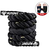 AUTUWT Heavy Jump Rope Skipping Rope Workout Battle Ropes with Gloves for Men Women Total Body Workouts Power Training Improv